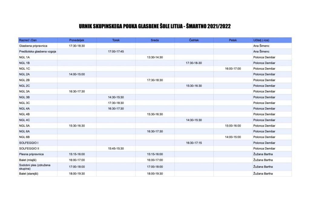 Urnik skupinskega pouka Glasbene šole Litija - Šmartno 2021/2022